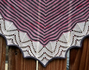 Hand Knit Beaded Lace Shawl - Sparkle Dream Stripes