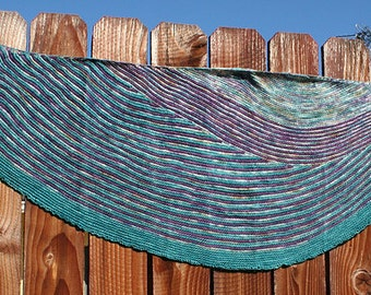 Hand Knit Striped Shawl - Teal & Purple Crescent
