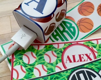 Personalized iphone charger wrap, sports theme, personalized iphone charger sticker, baseball, basketball, football, soccer