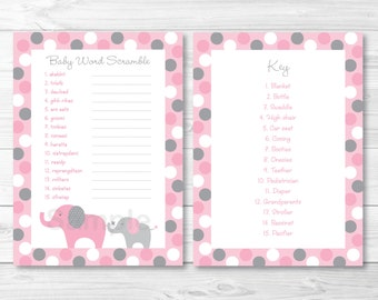 Pink Elephant Baby Word Scramble INSTANT DOWNLOAD