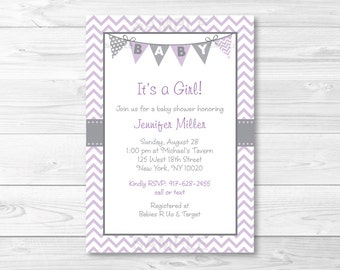 Cute Chevron Baby Shower Invitation / Chevron Baby Shower Invite / Chevron Pattern / Purple & Grey / Baby Girl Shower / PRINTABLE