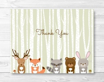 Woodland Forest Animals Folded Thank You Card Template / Fox Deer Bear Raccoon / Woodland Baby Shower PRINTABLE Instant Download