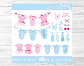 Cute Baby Onesie Clipart / Baby Clothes Clipart / Tutu Clipart / Tie Clipart / Pink & Blue / Baby Shower Clipart / INSTANT DOWNLOAD
