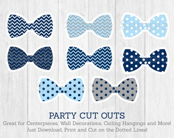 Bow Tie Cut Outs / Little Man Baby Shower / Chevron Bow Tie / Polka Dot / Centerpiece / Party Decor / Printable INSTANT DOWNLOAD
