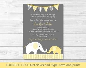 Cute Elephant Baby Shower Invitation / Elephant Baby Shower Invite / Chevron Pattern / Yellow & Grey / INSTANT DOWNLOAD Editable PDF