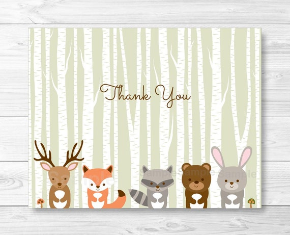 Woodland Forest Animals Folded Thank You Card Template ...