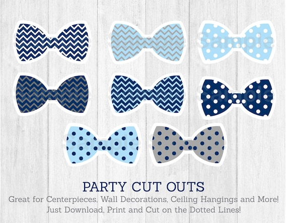 Bow Tie Cut Outs / Little Man Baby Shower / Chevron Bow Tie / Polka ...