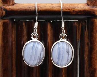 Blue Chalcedony Earrings - Gemstone Earrings - Dangle Earrings