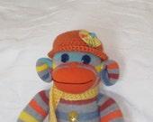 Sock Monkey Doll, Striped Sock Monkey, Orange, Yellow and Grey Sock Monkey, Sock Plush Doll, Sock Animal, Stuffed Animal, Sock Monkey Softie