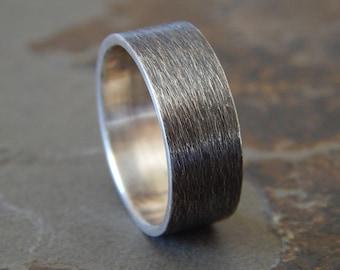 TEXTURED SILVER // Men's Wedding Ring // Women's Wedding Ring // Men's Wedding Band // Women's Wedding Band // 6, 8 or 10 mm width