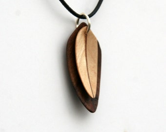 Handcarved Black Walnut and Maple Double Leaf / Feather Pendant  J1502100