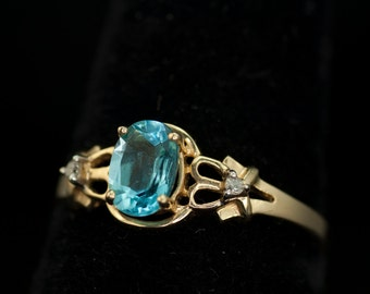 Ring Woman's Swiss Blue Topaz Ring 14K with Diamonds Woman's Vintage
