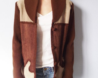 Vintage Suede Sweater Jacket - Dawn International Size Medium - Shawl Collar Leather Boho Coat