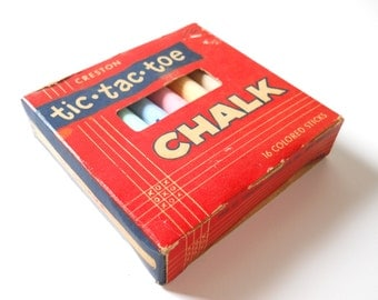 Vintage Creston Chalk • Childs Tic Tac Toe Chalk • Mid Century Original Box