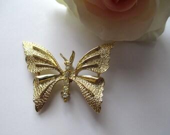 Vintage Signed Gerrys Goldtone Rhinestone Butterfly Brooch