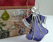 New Five Inch Handmade Stained Glass Purple Angel Ornament