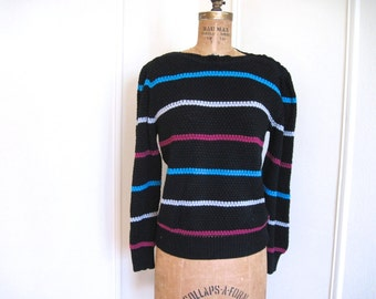 1980s Black Striped Knit Sweater ... Magenta, Teal, Light Gray - vintage size medium to large, m/l