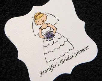 Personalized Bridal Shower Favor Tags - Shower Tags - Gift Tags - Wedding Favor Tags - Bride - Purple - Set of 20