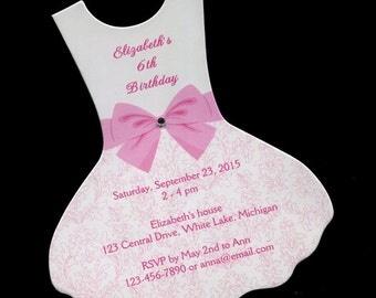 Personalized Birthday Party Invitations, Dress - Ballet Tutu, Set of 15