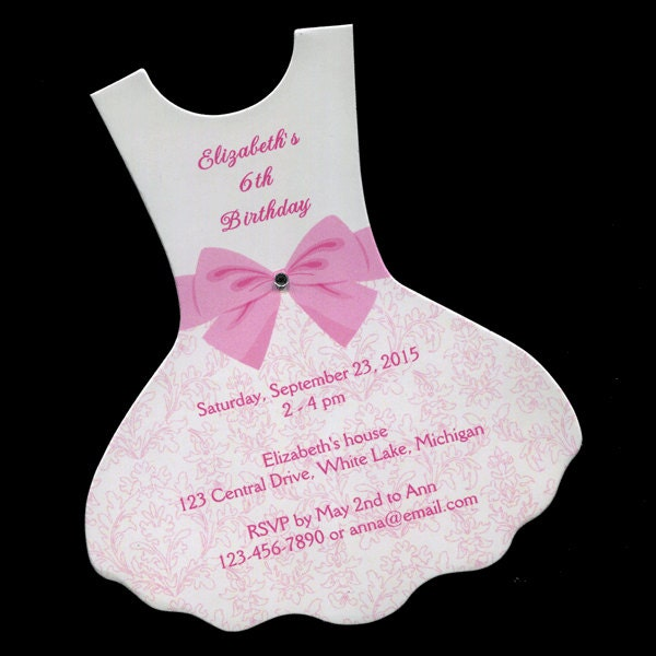 Personalized Birthday Party Invitations Dress Ballet Tutu