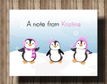 PERSONALIZED PENGUIN NOTECARDS for Girls/Girls Set of 10 Folded Notcards Boxed/Winter Thank You Cards/Boxed Penguin Party Thank You Cards