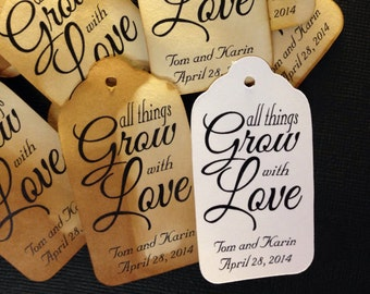 All things Grow with Love SMALL 2 inch Favor Tags CHOOSE your Quantity
