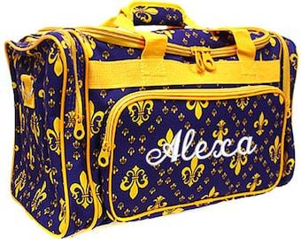 Personalized Duffle Bag Fleur De Lis Purple Gold Dance Travel Luggage Duffel