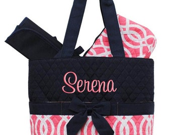 Personalized Diaper Bag Navy Blue Coral Vine Quilted Monogrammed Baby Tote