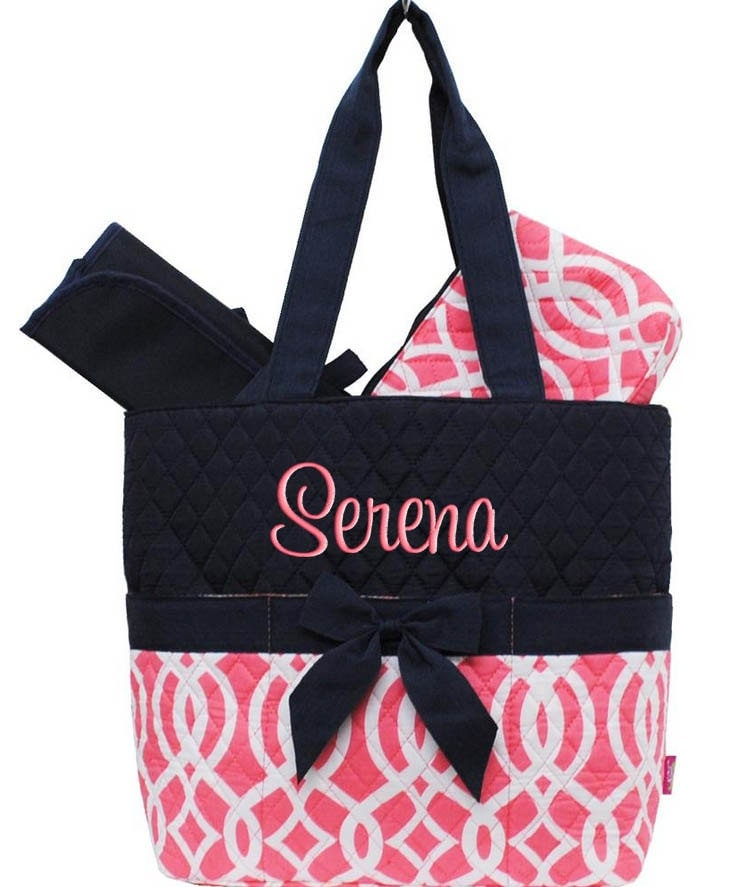 personalized diaper bag navy blue coral vine quilted. Black Bedroom Furniture Sets. Home Design Ideas
