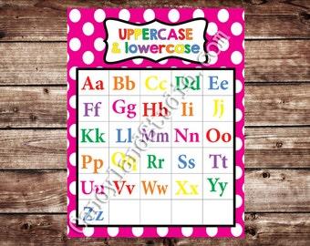 Printable Uppercase & Lowercase Alphabet Chart - Pink - DIGITAL FILE