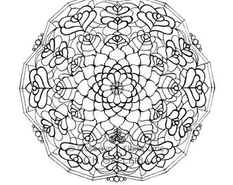 Mandala Instant PDF Download Coloring Page, Renewal, Wisdom & Protection