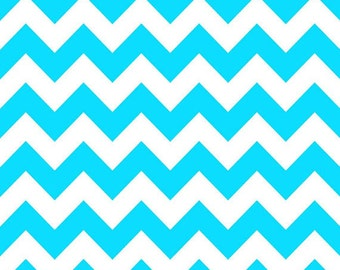 Riley Blake Medium Chevron Neon Blue Fabric, 1 yard