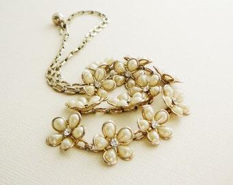 Vintage .. flower Necklace brass Vines pearl clear rhinestone vintage bride wedding