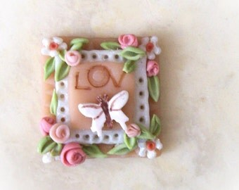 LOV Butterfly Rose Miniature 3D Fancy Wall Plaque Pretty Pink Tiny Feminine Sculpture Girl 1 Inch Scale Dollhouse Wall Art Room Decoration