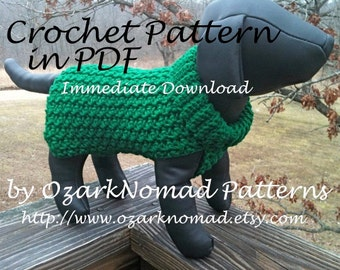 Immediate Download - PDF Crochet Pattern for the Green St. Paddy's Day Dog Sweater - Skill level easy