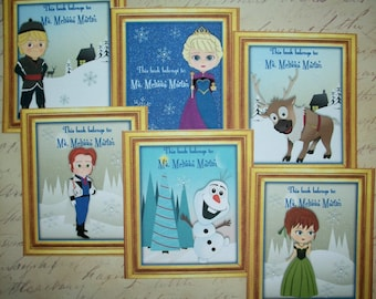 FROZEN  BOOKPLATES - Personalized - Made to order - Custom -  Set of 12 - Elsa, Olaf etc. - Self-Adhesive - FB 378