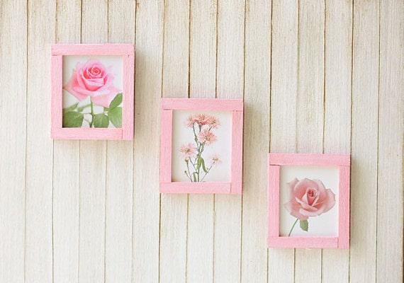 Dollhouse Wall Art - Pink Flowers in 1/12 Dollhouse Miniature Scale