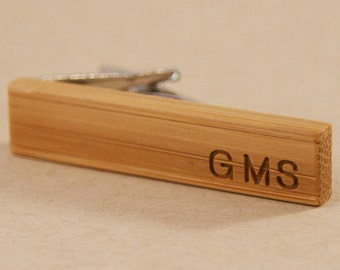 Personalized Skinny Tie Clip: Sustainable Bamboo Wood Tie Bar - Engraved with the initials of your choice!