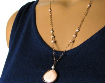 Pink Opal and Pearl Pendant Necklace in Jewelers Bronze - Pink and Gold -  Modern Romance Collection