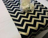 BLACK GOLD CHEVRON table runner -Black white and Gold metallic zig zag Chevron wedding bridal