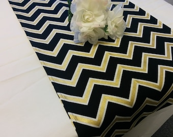 BLACK GOLD CHEVRON table runner -or Napkins, Pillow Cover, Black white and Gold, metallic, zig zag, Chevron wedding, bridal, shower,