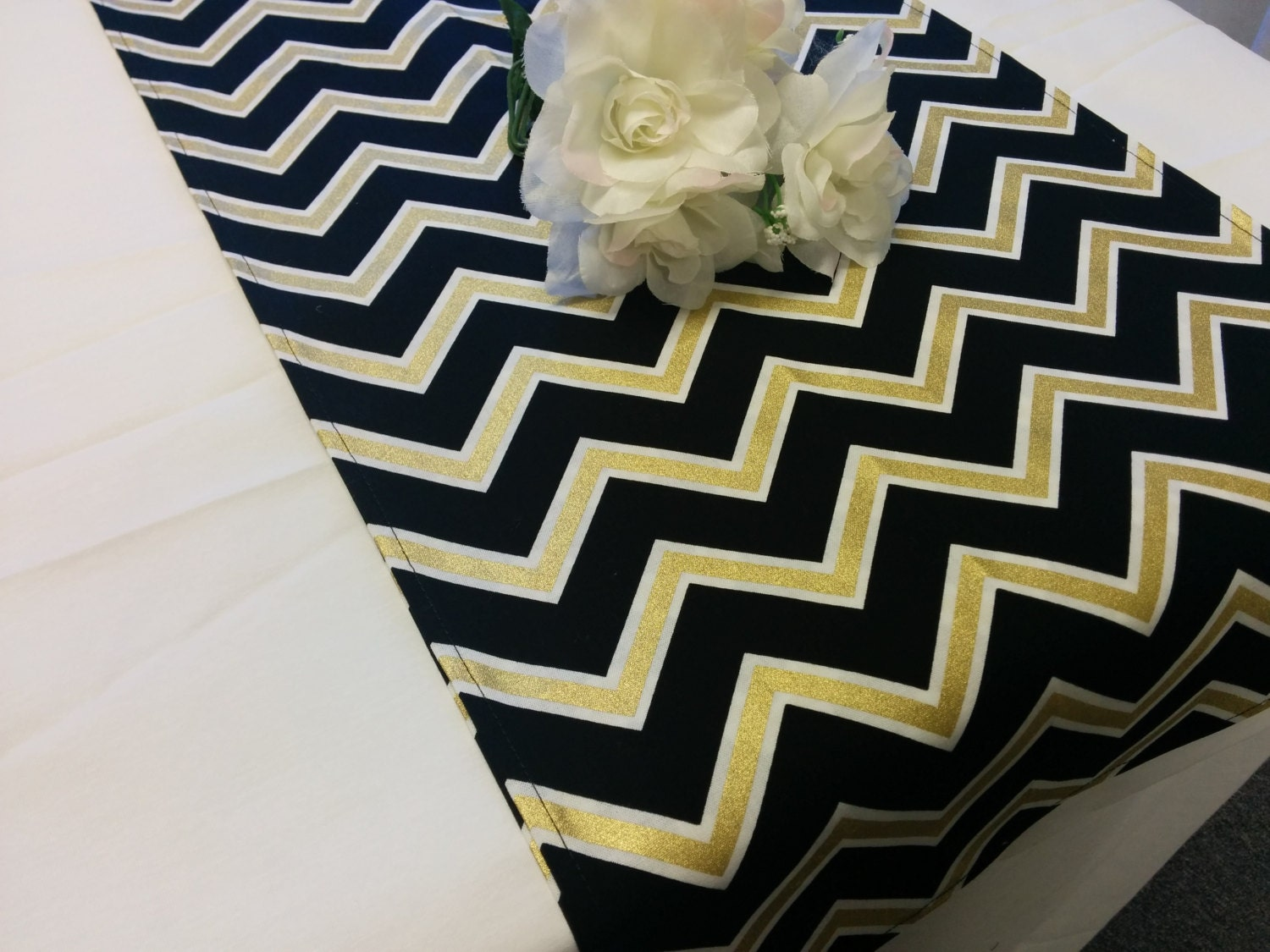 black gold chevron table runner or napkins pillow cover. Black Bedroom Furniture Sets. Home Design Ideas