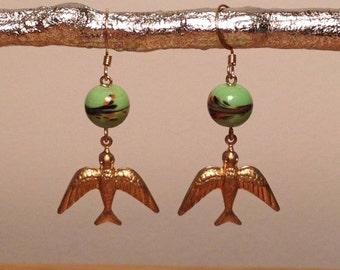Vintage Green Glass  Bead, Brass Bird Earrings.