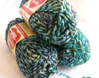 Red Heart Medley yarn, bulky weight yarn, ENERGY, teal green blue variegated yarn, arm knitting yarn