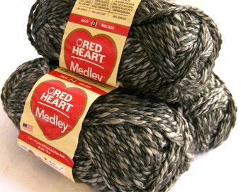Red Heart Medley yarn, bulky weight yarn, URBAN, black white charcoal zebra arm knitting yarn