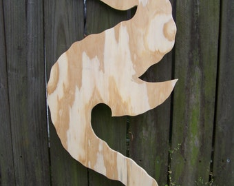 Seahorse Wood Cut Out 29 InchesL x 12.5 inchesW For Paint, Mosaic or Decoupage