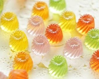 SALE 7 pcs Tiny Colorful Jelly Cabochons (10mm) CD123 (((LAST/ no restock)))