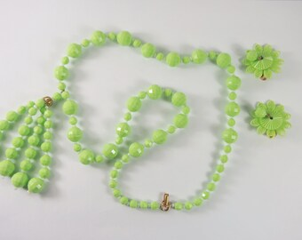 Green Plastic Bead Tassel Necklace and Clip Earring Set Vintage 60s Jewelry