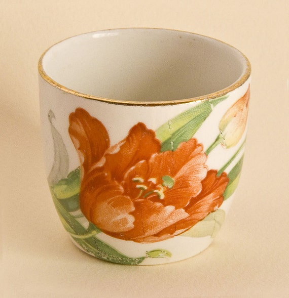 Art Deco Bucket Shape Egg Cup With Orange & Purple Tulips; Boiled Egg Cup, Spring Gift Idea ,Shabby Chic Floral Cottage Style.