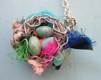 Romantic  silver bird nest on lace with turquoise eggs necklace on silver chain woodland birdnest shabby chic organic nest